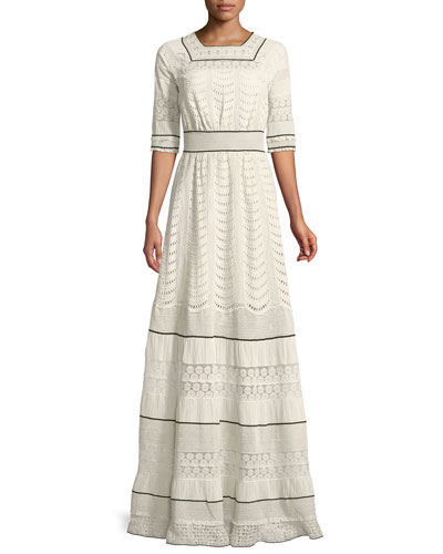 Elbow-Sleeve Eyelet Lace-Inset A-Line Long Dress