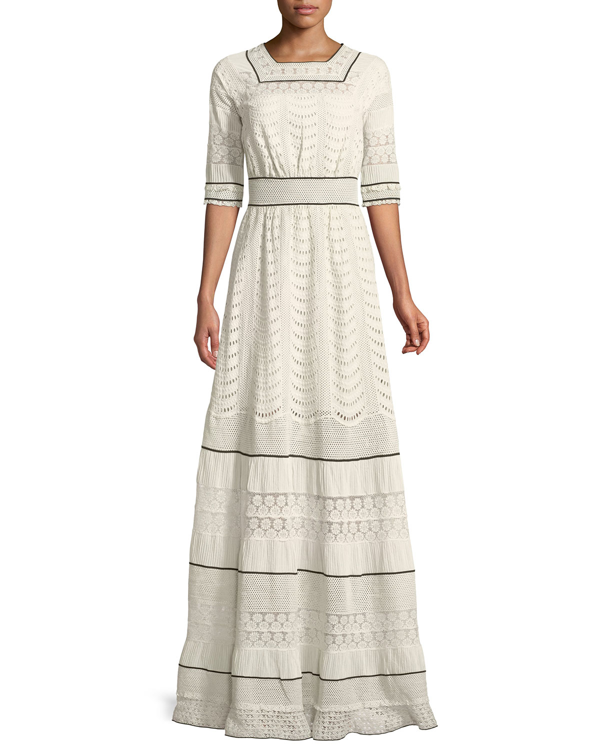 25aab1eff3 Quick Look. Talitha Collection · Elbow-Sleeve Eyelet Lace-Inset A-Line Long  Dress. Available in Black