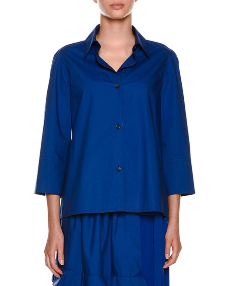 Collared Button-Front Woven Blouse