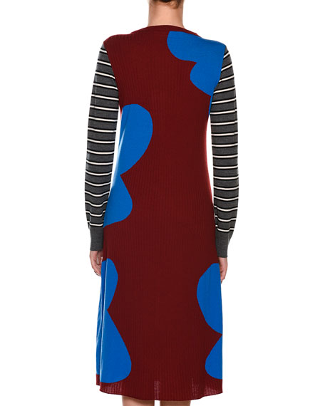 Long-Sleeve Printed Rib-Knit Wool Dress