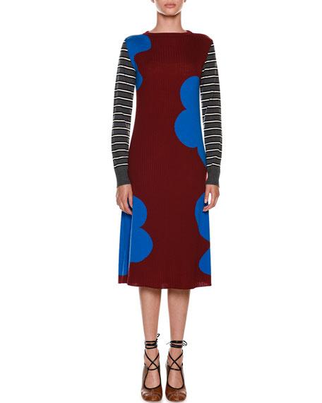 Long-Sleeve Printed Rib-Knit Wool Dress