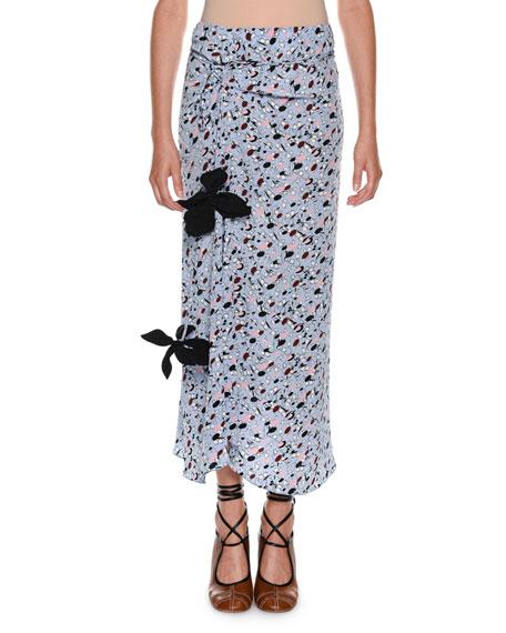 Marni Dot-Print Straight Silk Woven Skirt w/ Appliques