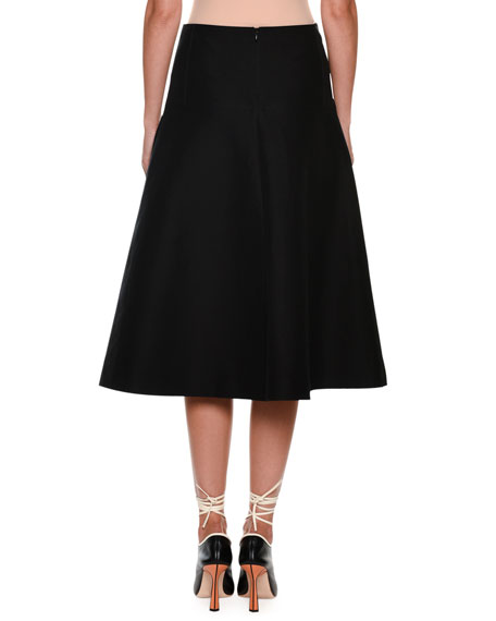 Mid-Calf Circle Cotton Woven Skirt