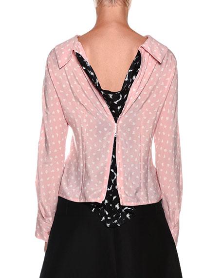 Long-Sleeve Zip-Back Silk Blouse