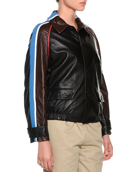 Button-Front Side-Stripe Leather Bomber Jacket