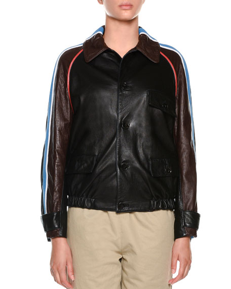 Marni Button-Front Side-Stripe Leather Bomber Jacket and Matching