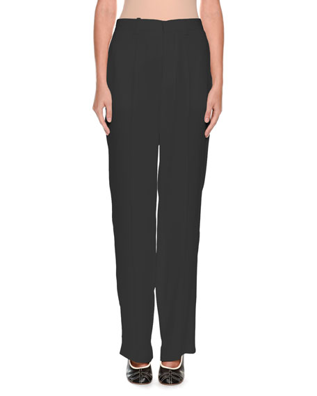 Zip-Front Straight-Leg Woven Pants