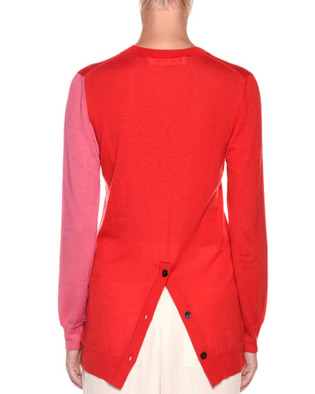 Crewneck Button-Hem Cashmere Knit Pullover Sweater