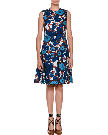Marni Sleeveless A-Line Floral-Print Poplin Dress