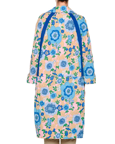 Long-Sleeve Quilted Floral-Print Mid-Calf Duster Jacket