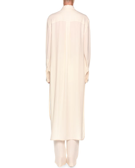Long-Sleeve Removable Ruffle Front Shirtdress