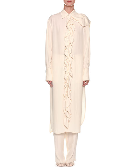 Marni Long-Sleeve Removable Ruffle Front Shirtdress
