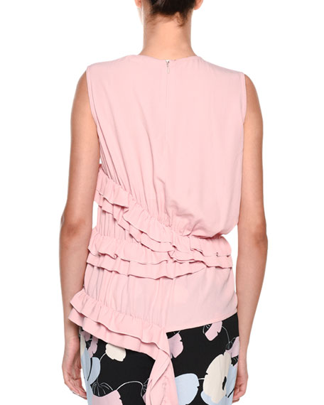 Sleeveless Ruffled-Waist Silk-Woven Blouse