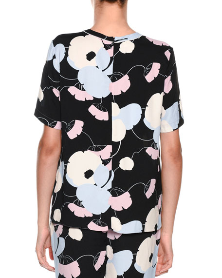Short-Sleeve Floral-Print Woven T-Shirt