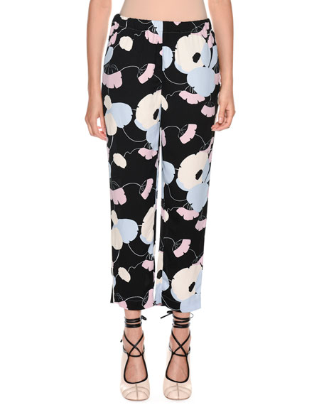 Marni Floral-Print Straight-Leg Pajama Silk Pant and Matching