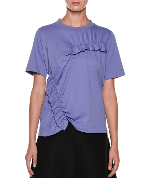 Short-Sleeve Ruffle-Detail Tee