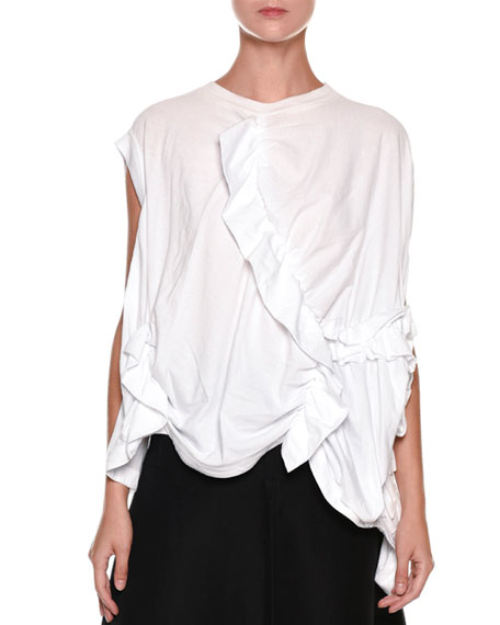 Ruffled Gathered Oversized Cotton Jersey Top
