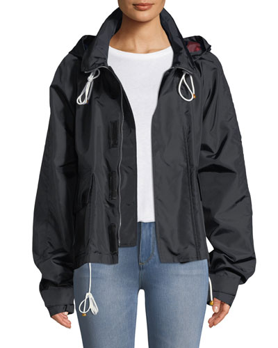 Hooded Zip-Front Nylon Jacket
