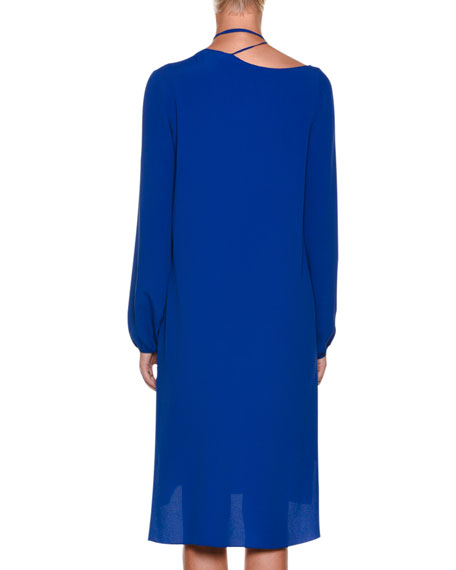 Tie-Neck Long-Sleeve Woven Shift Dress