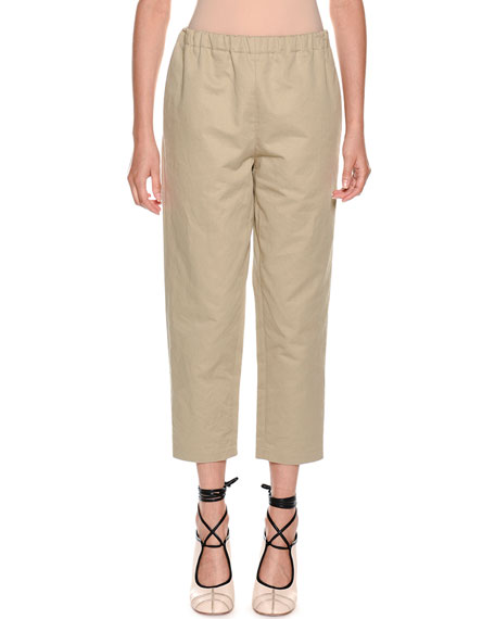 Pull-On Crop Straight-Leg Poplin Pants