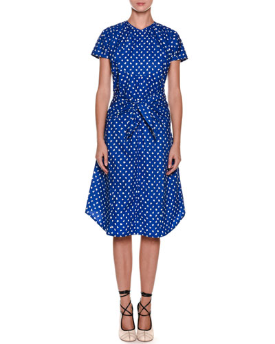 Short-Sleeve Dot-Print Tie-Waist Cotton Poplin Dress