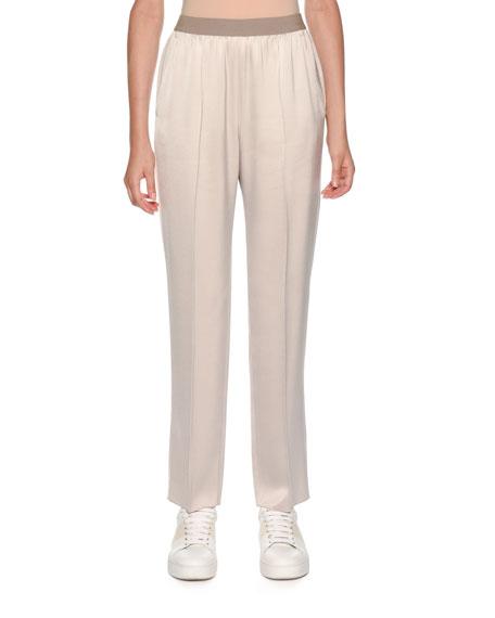 Elastic-Waist Pull-On Tapered-Leg Pants