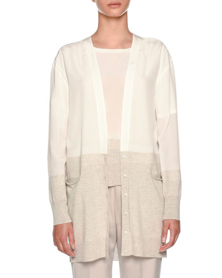 V-Neck Button-Front Oversized Silk Cardigan with Knit Hem
