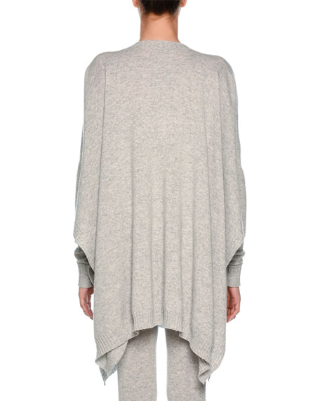 Split-Neck Heathered Cashmere Pullover Top