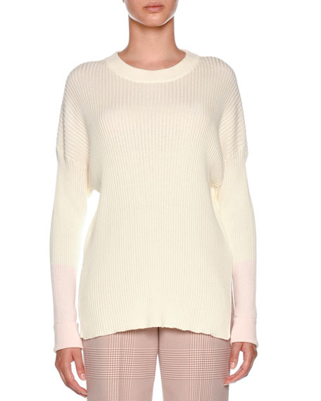 Agnona Crewneck Long-Sleeve Rib-Knit Cotton-Cashmere Sweater and