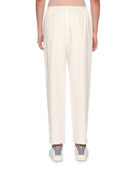 Mid-Rise Crossover Waist Straight-Leg Cotton-Blend Pants