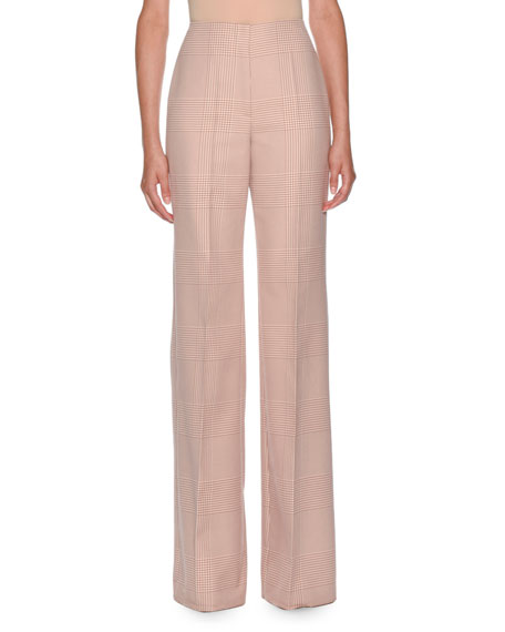 Prince of Wales Cotton High Waisted Flare Pant