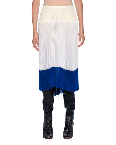 Silk Crepe De Chine Color and Fabric Blocked Skirt