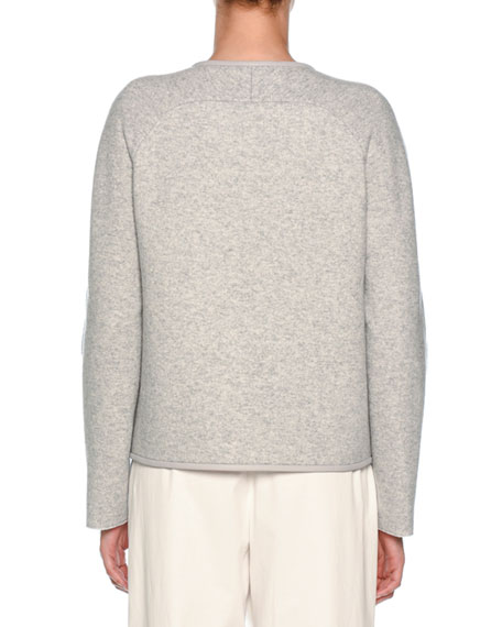Crewneck Sip-Front Cashmere Jacket with Leather Piping