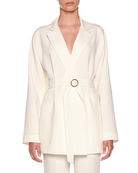 Notched-Collar Belted Hip-Length Wool Blazer