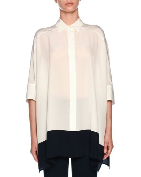 Button-Front Half-Sleeve Silk Tunic Shirt with Contrast Hem