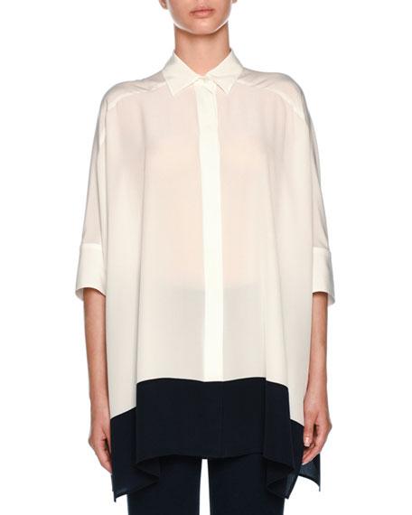 Agnona Silk Crepe de Chine Colorblock Tunic Shirt