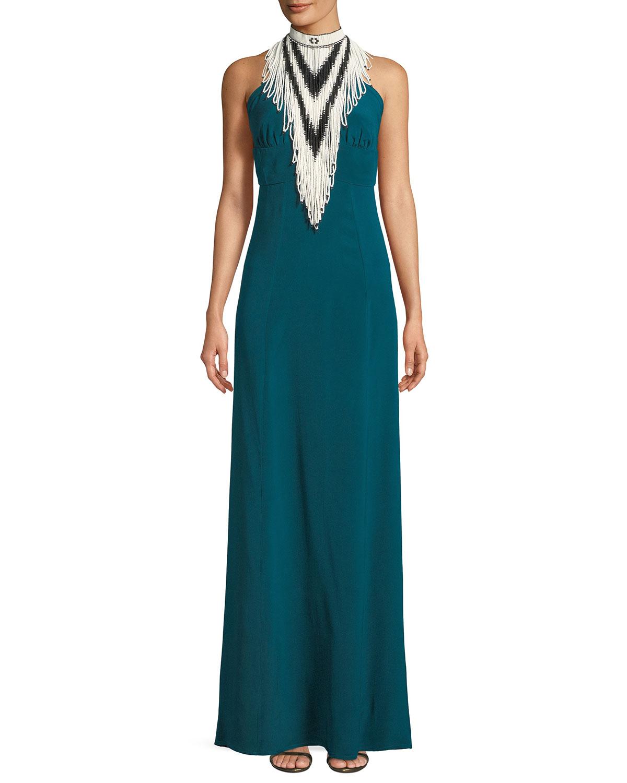 Talitha Collection Mock-Neck Sleeveless Beaded Halter Silk Evening ...