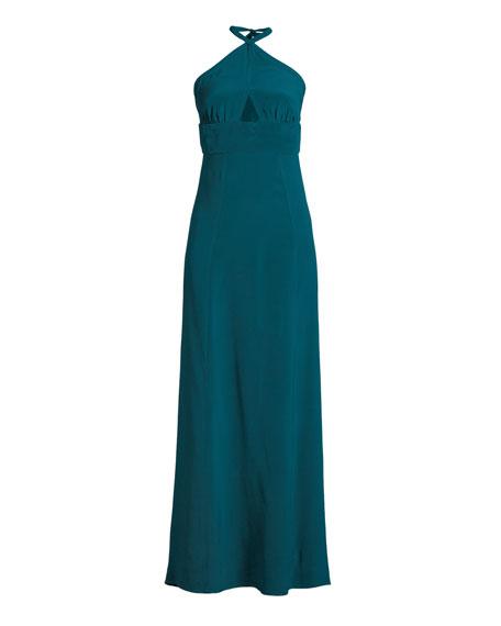 Mock-Neck Sleeveless Beaded Halter Silk Evening Gown