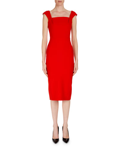 Matlock Square-Neck Cap-Sleeve Sheath Dress