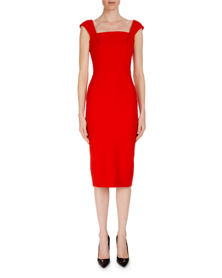 Matlock Square-Neck Cap-Sleeve Sheath Dress