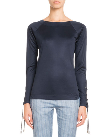 Pascal Millet Long-Sleeve Lace-Up Fitted Jersey Top and