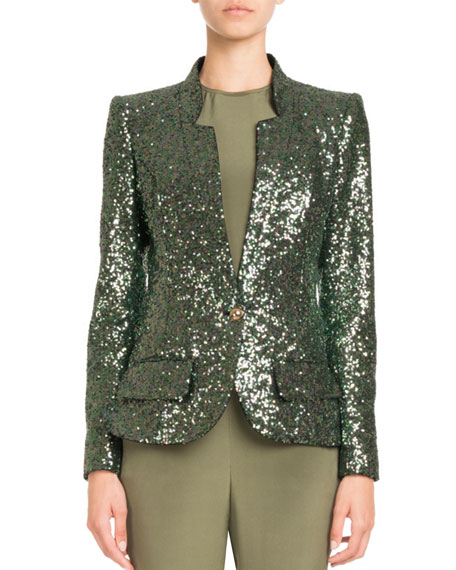 Pascal Millet Single-Breasted Tailored Sequin Jacket and Matching
