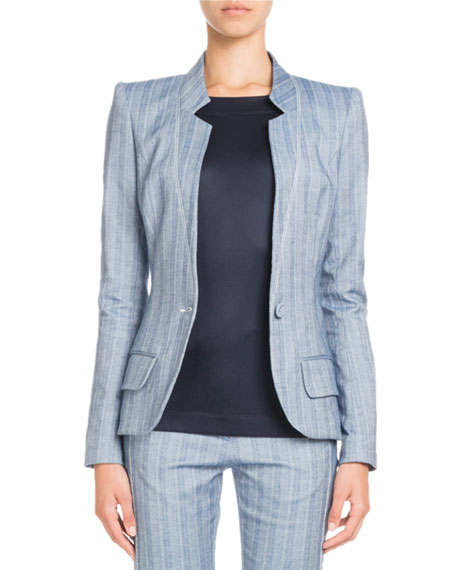 Single-Breasted Striped Cotton-Linen Jacket