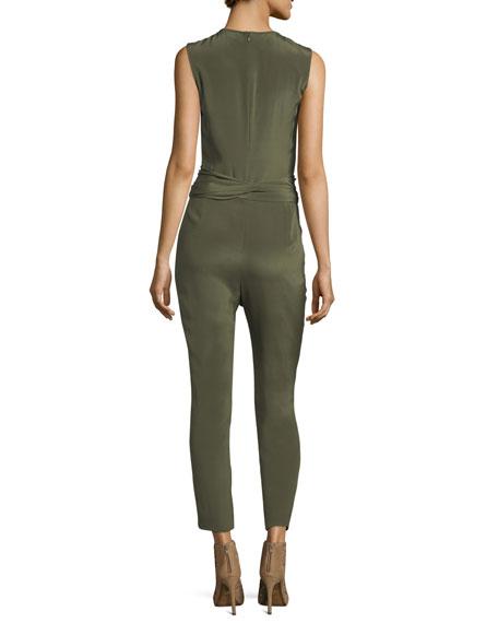 Jewel-Neck Sleeveless Straight-Leg Belted Jumpsuit