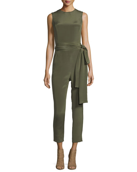 Pascal Millet Jewel-Neck Sleeveless Straight-Leg Belted Jumpsuit