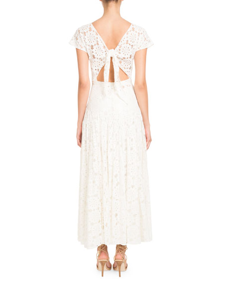 Tie-Back Short-Sleeve Embroidered Paillette Floral-Lace Dress
