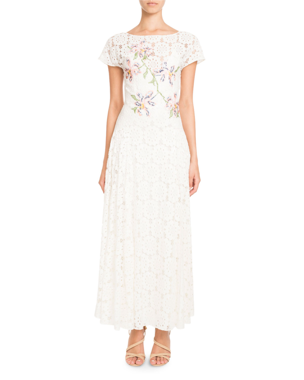 54faf699b Pascal Millet Tie-Back Short-Sleeve Embroidered Paillette Floral ...