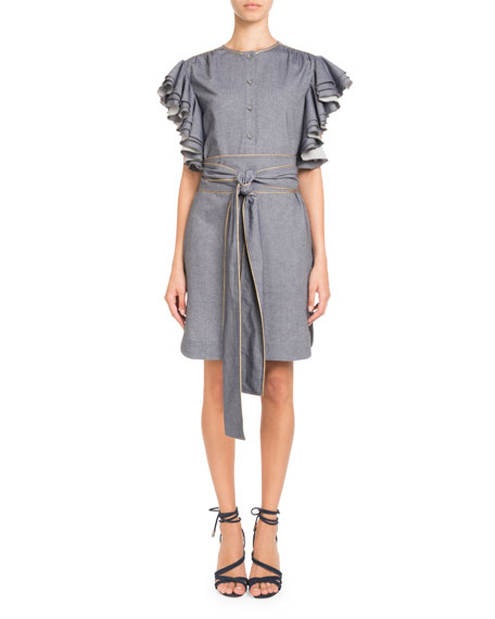 Pascal Millet Heavy-Ruffle Sleeveless Belted Chambray Dress w/