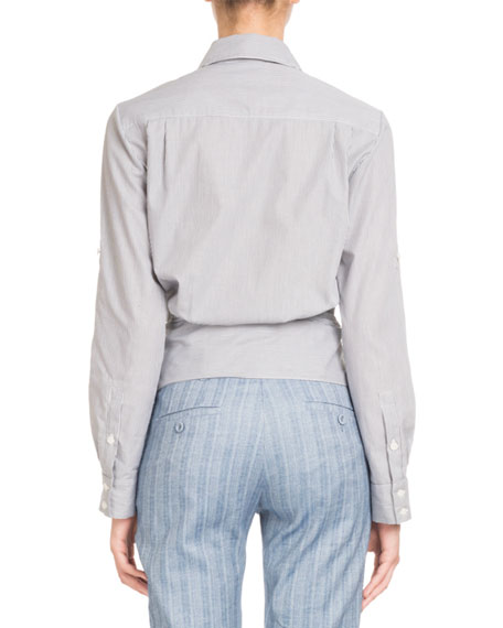 Button-Front Striped Tie-Waist Cotton Blouse