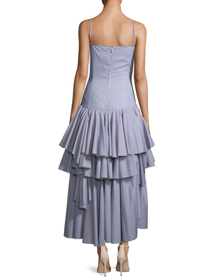 Sleeveless Tiered Ruffle Striped Cotton Tank Dress